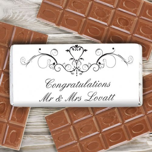 Personalised Ornate Swirl Chocolate Bar
